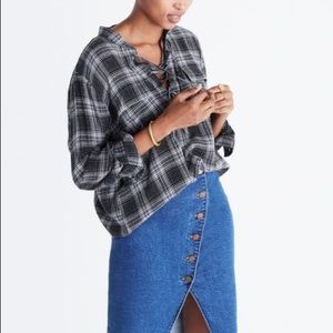 Madewell Terrace Lace-Up Plaid Flannel Top